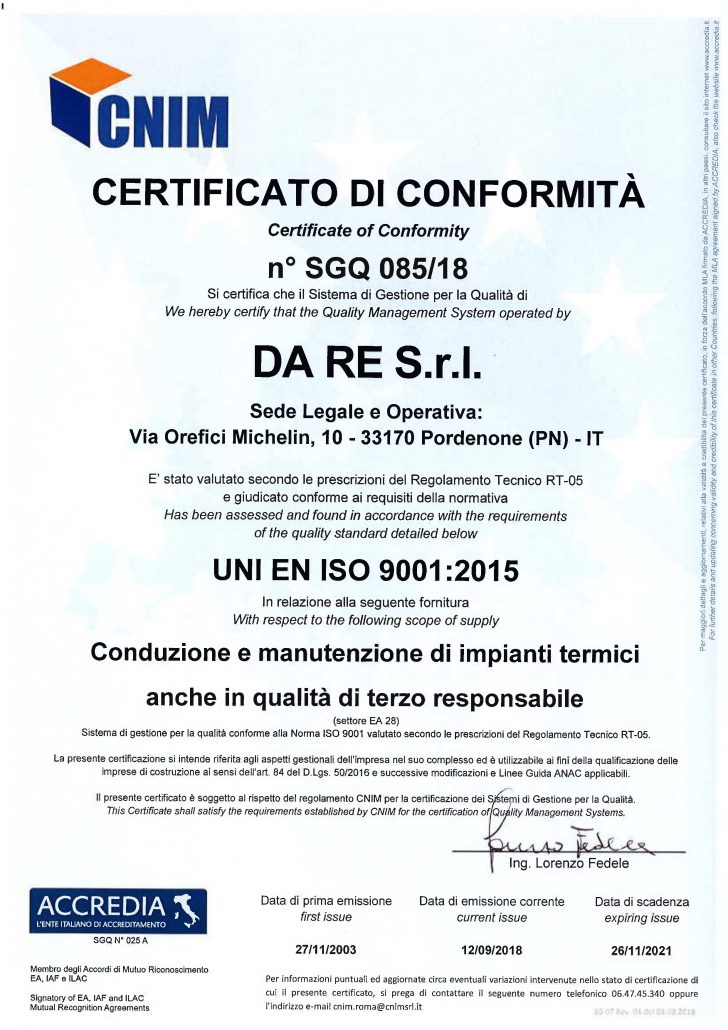 Certificazione Uni En Iso Da Re Pordenone